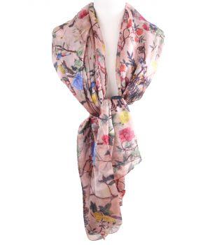 Oudroze sjaal/stola met vogel- en bloemenprint
