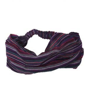 Katoenen haarband met strepen in paars
