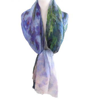 Linnen schilderij-sjaal met schildering van bloemen in paars-blauw