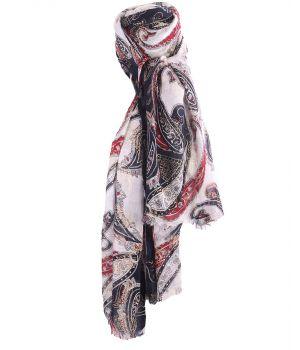 Sjaal met paisley print in rood en donkerblauw