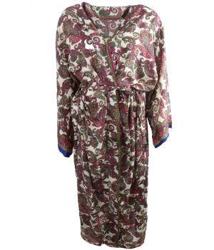 Lange zijde-blend kimono met paisley print roze-groen