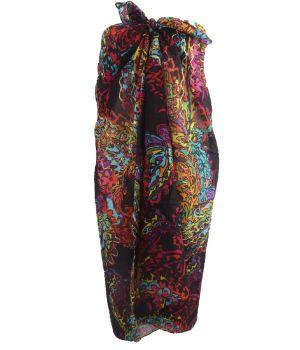 Zwarte sarong met kleurrijke abstracte print