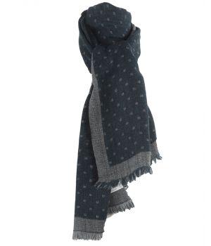 Fijn geweven sjaal in petrol met blokjes patroon in grijs