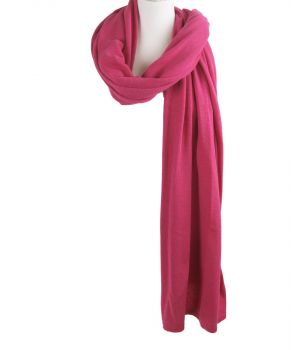 Kasjmier-blend sjaal/omslagdoek in hardroze