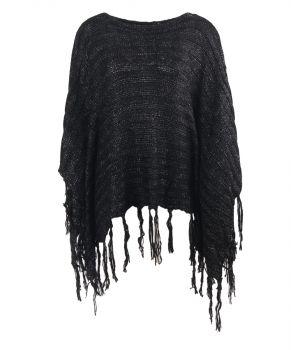Zwarte gebreide poncho