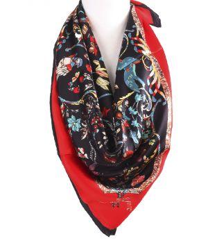 Zijden vierkante sjaal met bloemen- en vogeltjes print