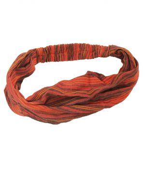 Katoenen haarband met strepen in oranje