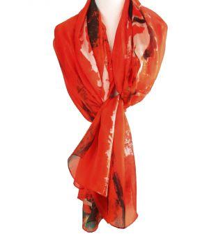 Zijden sjaal/stola met abstracte print in rood-oranje