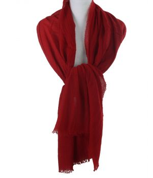 Rode stola/sjaal van 100% kasjmier
