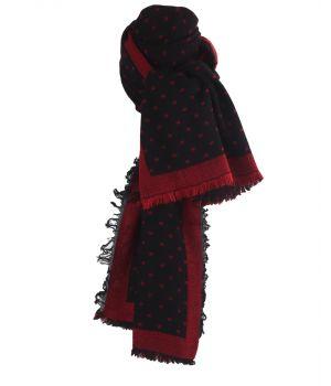 Fijn geweven sjaal in zwart met blokjes patroon in rood