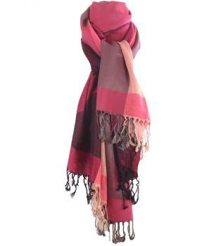 Pashmina sjaal met kleurvlakken in hardroze en beige