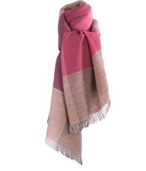 Fijn geweven sjaal met kleurvlakken in roze-tinten