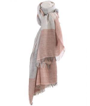 Fijn geweven sjaal met kleurvlakken in grijs en lichtroze