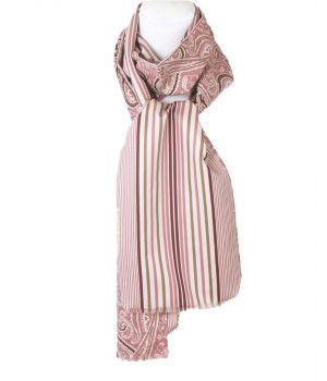 Sjaal met paisley in roze en taupe
