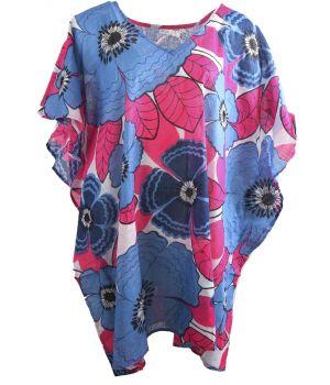 Katoenen tuniek met bloemenprint in hardroze en blauw