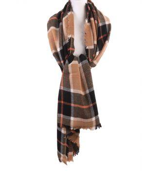 Geruite XL sjaal/omslagdoek in beige en zwart