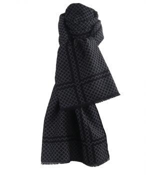 Zachte wol-blend sjaal met wieber ruitjes in grijs