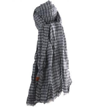 Katoenen sjaal met ruitjes in zwart