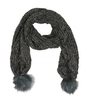 Grijze gebreide sjaal met kunstbont pompoenen