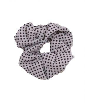 Velvet Scrunchie in wit met stippenprint