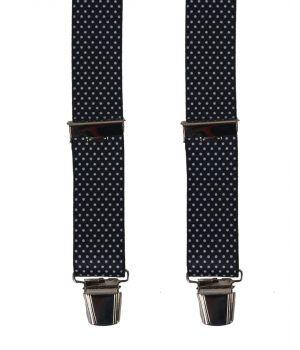 Zwarte bretels met witte stippen