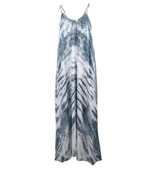Strandjurk tie-dye print in grijs-blauw en wit
