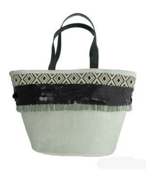 Zilveren bucket strandtas met pailletten