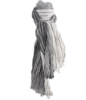 Gecrushte sjaal met strepen in ivoor en donkergijs