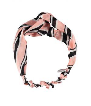 Rekbare haarband met strepen in lichtroze