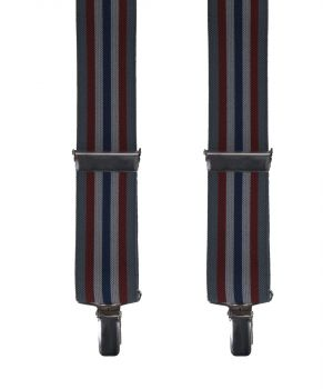 Bretels met grijs-rood-blauwe strepen