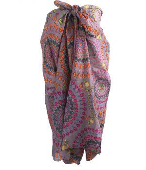 Taupe kleurige sarong met edelstenen print