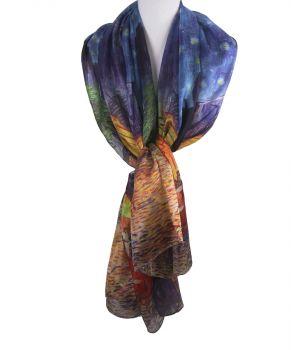 Zijden sjaal/stola met print ''Caféterras bij nacht'' van Gogh