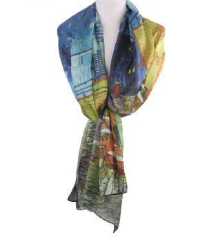 Zijde-blend sjaal met afbeelding '' Caféterras bij nacht'' van Gogh