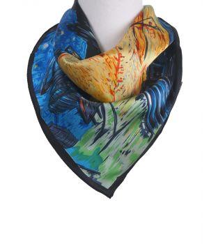 Vierkant zijden sjaaltje met afbeelding ''Caféterras bij nacht'' van Gogh