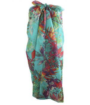 Turquoise sarong met tropische bloemenprint