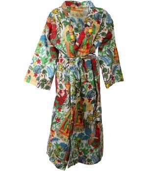 Lange katoenen kimono in wit met Frida Kahlo print