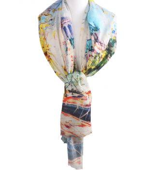Schilderij-sjaal met afbeelding van de Seine in Parijs