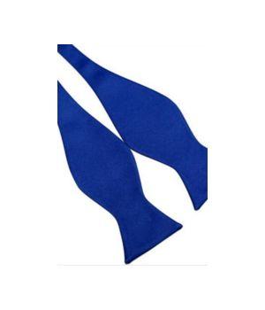kobaltblauwe satijnen zelf strikker vlinderdas