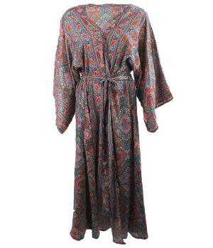 Lange zijde-blend kimono met paisley print in turquoise-oranje