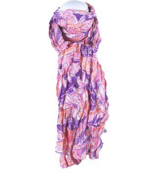Oranje/ paarse licht gekreukte katoenen sjaal