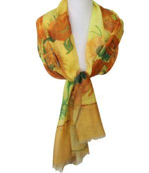 Schilderij-sjaal met afbeelding ''Zonnebloemen'' van Gogh