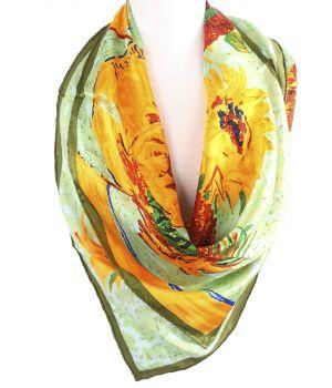 Zijden vierkante sjaal in jadegroen met afbeelding van zonnebloemen
