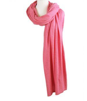 Kasjmier-blend sjaal/omslagdoek in zuurstok roze