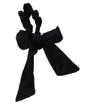 Velvet Scrunchie met strik in zwart