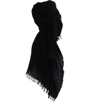 Zwart geweven sjaal van 100% kasjmier