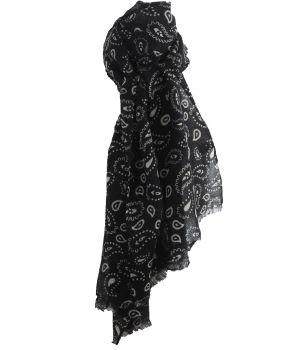 Zwarte luchtige wollen mousseline sjaal met paisley print