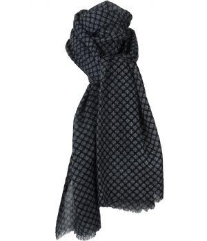 Zwarte luchtige wollen mousseline sjaal met dessin