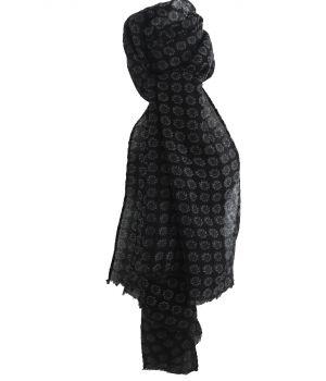 Luchtige zwarte wollen mousseline met paisley print
