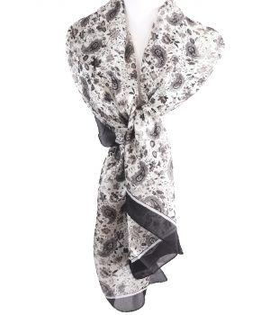 Zijden sjaal/stola met bloemen- en paisley print in zwart
