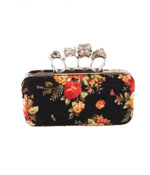 """Designer inspired """"boksbeugel"""" clutch in zwart met rozenprint"""